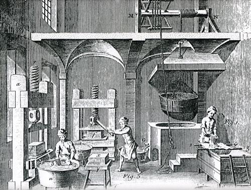 Εργοστάσιο κατασκευής χάρτου. Χαλκογραφία, Παρίση 1767.