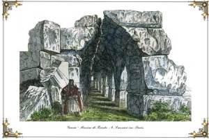 Grecia - Rovine di Tirinto.  Χαλκογραφία σε χαρτί, επιχρωματισμός εποχής. Α. Lazzari inc.