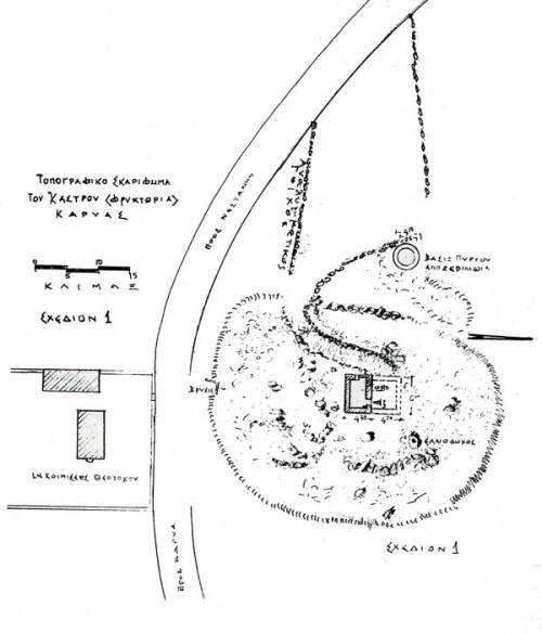 Τοπογραφικό σκαρίφημα του Κάστρου Καρυάς