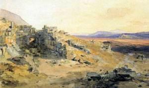 Η πύλη των Λεόντων και η πεδιάδα του Άργους. Ακουαρέλα (1836-37) του Rottmann Carl. (Κρατική Συλλογή Γραφικών, Μόναχο)