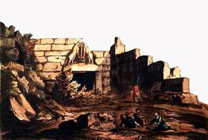 Μυκήνες. Haygarth, William (ζωγράφος) & C. Turner (χαράκτης) 1.5.1814, χαλκογραφία επιχρωματισμένη, 17,5 x 25,5 εκ. (Μουσείο της Πόλεως των Αθηνών Βούρου-Ευταξία)