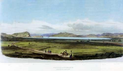 """Ναύπλιο, επιχρωματισμένη  λιθογραφία 1834. """"La Grece. Vues pittoresques et topographiques, dessinus par  O. M baron de Stackelberg""""."""