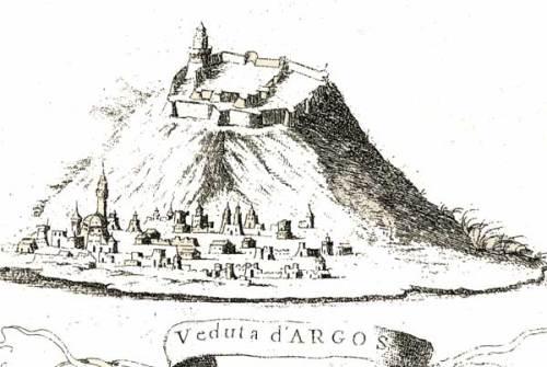 Argos, Coronelli, «Morea, Negreponte, e Adiazenze», Venezia, 1685