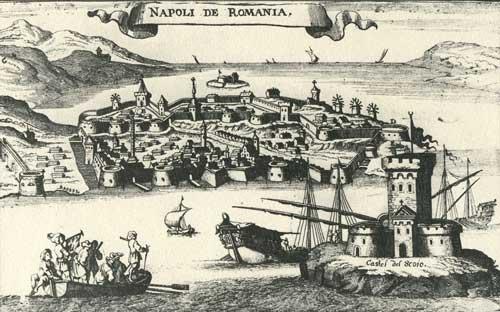 Άποψη του Ναυπλίου. Χαλκογραφία, Gasp. Bouttats, 1690.