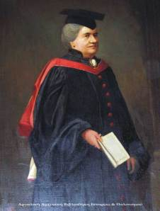 A portrait of Agnes Smith Lewis in the Westminster College, Cambridge.