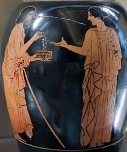 Ο Πολυνείκης προσφέρει στην Εριφύλη το περιδέραιο της Αρμονίας.