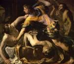 Orestes slaying Aegisthus and Clytemnestra, Bernardino Mei,1654.