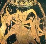Ο Ορέστης σκοτώνει τον Αίγισθο, ερυθρόμορφη πελίκη, 500 π.Χ., Βιένη ΙστορικόΜουσείο.