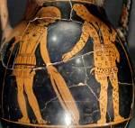 Ο Γλαύκος και ο Διομήδης ανταλλάσσουν τον οπλισμό τους. Αττική πελίκη του «Ζωγράφου του Hasselmann», περ. 420π.Χ.
