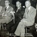 Σε φιλολογική εκδήλωση. Από αριστερά: Κ. Μεραναίος, Στρατής Μυριβήλης και Γ.Τσουκαντάς.