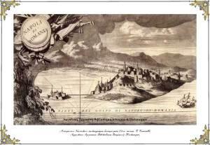Άποψη του Ναυπλίου, χαλκογραφία, από έκδοση του V. Coronelli (β' μισό 17ου αιώνα)