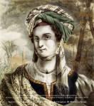 Η καπετάνισσα του Εικοσιένα Λασκαρίνα Μπουμπουλίνα. Επιζωγραφισμένη λιθογραφία, έργο του Adam Friedel. Λονδίνο – Παρίσι,1827.