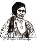 Φωτεινή Τζαβέλα, σύζυγος Γενναίου Κολοκοτρώνη, ξυλογραφία,1891.