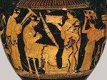 Η μουσική στο γάμο της αρχαίας Ελλάδας. Η νύφη παίζει την τριγωνική άρπα ανάμεσα σε φίλες της. Γαμικός λέβης, γύρω στο 430 π.Χ. Μητροπολιτικό Μουσείο ΝέαςΥόρκης.