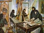 Οι μοναχές συγκεντρωμένες στο μικρό ζωγραφείο – ΝτιάναΑντωνακάτου