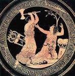 Απεικόνιση της δολοφονίας της Κασσάνδρας σε ερυθρόμορφη κύλικα του 5ου αι.π.χ.