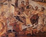 Αρχαίοι σοφοί στην Ακαδημία του Πλάτωνα: Ηρακλής Ποντικός, Σπεύσιππος, Πλάτων, Εύδοξος, Ξενοκράτης και Αριστοτέλης. Ψηφιδωτό από την Πομπηία. Εθνικό Αρχαιολογικό ΜουσείοΝάπολης.