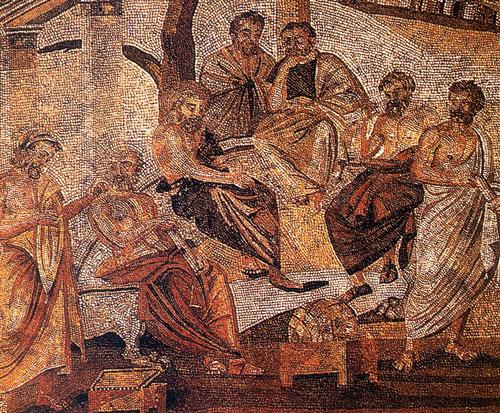 Αρχαίοι σοφοί στην Ακαδημία του Πλάτωνα: Ηρακλής Ποντικός, Σπεύσιππος, Πλάτων, Εύδοξος, Ξενοκράτης και Αριστοτέλης. Ψηφιδωτό από την Πομπηία. Εθνικό Αρχαιολογικό Μουσείο Νάπολης.