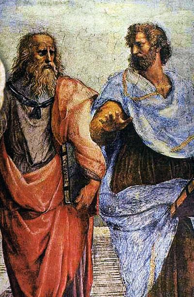 Ο Αριστοτέλης με το δάσκαλό  του Πλάτωνα στην Ακαδημία, λεπτομέρεια από το έργο «Η σχολή των Αθηνών», νωπογραφία του Ραφαήλ.