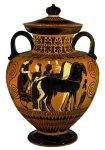 Εικ. 1. Γαμήλια πομπή. Μελανόμορφος αμφορέας του Εξηκία, περ. 540π.χ.