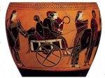 Η γαμήλια άμαξα με τη νύφη, το γαμπρό κα τον πάροχο (μελανόμορφο αττικό αγγείο του ζωγράφου Άμαση, 550π.χ.)