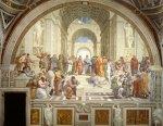 Εικ. 1. Η σχολή των Αθηνών, Ραφαήλ ή Ραφαέλο Σάντσιο, το έργο δημιουργήθηκε μεταξύ του 1508 και 1511. Τοιχογραφία. Ανάκτορα του Βατικανού,Ρώμη.
