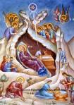 «Η Χριστού Γέννησις», Βασίλης Δήμας, Τοιχογραφία – Ανατολική καμάρα Ιερού Ναού Αγίου Ανδρέα(Λαύριο).