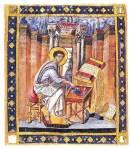 Ο Ευαγγελιστής Λουκάς. Μικρογραφία βυζαντινούχειρογράφου.