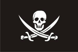 Η σημαία του γνωστού πειρατή Καλίκο Τζακ Ράκαμ (Calico Jack Rackham).