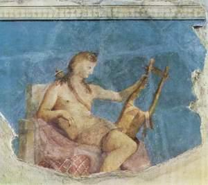 Ο «κιθαρωδός» Απόλλωνας. Τοιχογραφία στον οίκο του Αυγούστου στη Ρώμη, περ. 20 π.Χ.