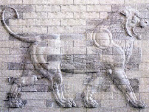 Παράσταση λέοντα από το ανάκτορο των βασιλέων της αρχαίας Περσίας στην Περσέπολη.