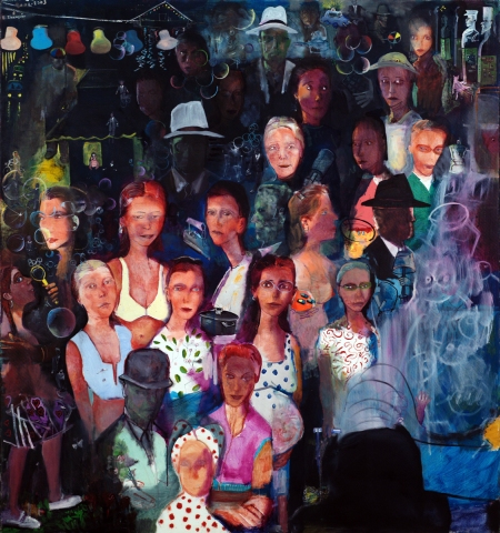 Εδουάρδος Σακαγιάν - Βόλτα νυχτερινή, 2002-2003, λάδι σε μουσαμά, 160 × 150 εκ.