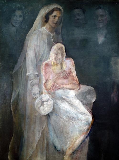 """Χρόνης Μπότσογλου - Μια προσωπική Νέκυια (26 πίνακες) αρ. 15, 1993-2000 λαδοπαστέλ, σκόνες αγιογραφίας και ξηρό παστέλ σε χαρτί κολλημένο σε μουσαμά, 152,5×150 εκ. Ο τίτλος """"Νέκυια"""", αναφέρεται στη λ' ραψωδία της Οδύσσειας, στην οποία περιγράφεται η κάθοδος του Οδυσσέα σε έναν τόπο όπου δεν υπάρχει φως και όπου μέσα από μια τελετή """"νεκρομαντείας"""" συναντά και συνομιλεί με τις σκιές των πεθαμένων. Στη δική του προσωπική Νέκυια, ο καλλιτέχνης προσπάθησε να καταλάβει και να εικονίσει το πώς θυμάται κάποια πρόσωπα που δεν υπάρχουν σήμερα, και παίξανε σημαντικό ρόλο στη ζωή του. Το έργο αυτό φιλοδοξεί να αποτελέσει ένα εικαστικό δοκίμιο πάνω στη μνήμη. Ανήκει στη συλλογή Λάρυς και Σωτήρη Φέλιου."""