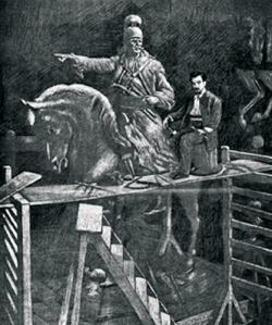 Ο γλύπτης Λάζαρος Σώχος ενώ εργάζεται για την κατασκευή του έφιππου ανδριάντα του Κολοκοτρώνη.