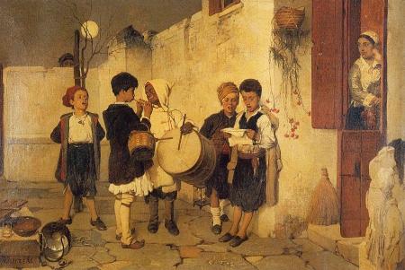 Κάλαντα, πίνακας που ζωγράφισε το 1872 ο Νικηφόρος Λύτρας αποτυπώνοντας μια ομάδα παιδιών διαφόρων εθνικοτήτων να λένε τα χριστουγεννιάτικα κάλαντα.
