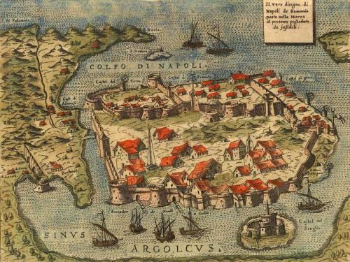 Χάρτης του Ναυπλίου του 1573; Διακρίνεται η τάφρος που χώριζε την πόλη από το βουνό του Παλαμηδιού. Δυτικά στην άκρη της τάφρου διακρίνεται η σημείωση «Case Αlbanesi». Προφανώς οικισμός στον οποίο είχαν εγκατασταθεί Αλβανοί