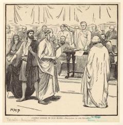 Σκηνή δικαστηρίου στην παλιά Ρώμη. Εκδίωξη των Σοφιστών. Λιθογραφία, Paget, HM (Henry Marriott), 1899.  Συλλογή Mid-Manhattan Library.