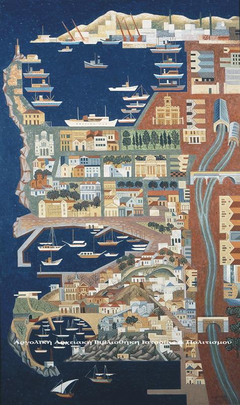 Αγήνωρ Αστεριάδης (1898-1997), «Πειραιάς», 1973, Αυγοτέμπερα σε ξύλο, 202Χ122 εκ. Εθνική Πινακοθήκη & Μουσείου Αλεξάνδρου Σούτζου.