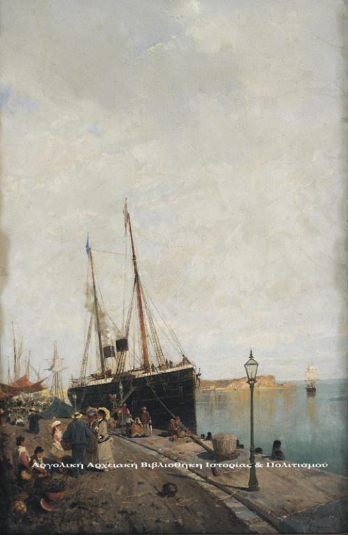Κωνσταντίνος Βολανάκης (1837-1907), «Στην αποβάθρα», περ. 1869-1875, λάδι σε μουσαμά, 70Χ45 εκ. Εθνική Πινακοθήκη & Μουσείου Αλεξάνδρου Σούτζου.