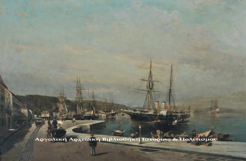 Κωνσταντίνος Βολανάκης (1837-1907), «Το λιμάνι του Βόλου», περ. 1869-1875, λάδι σε μουσαμά, 32,5 Χ 48 εκ. Εθνική Πινακοθήκη & Μουσείου Αλεξάνδρου Σούτζου.