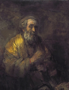 Όμηρος, 1663. Έργο του Ολλανδού Ρέμπραντ Χάρμενσοον βαν Ρέιν (1606-1669). Λάδι σε καμβα, 107Χ82 εκ. Stedelijk Museum Amsterdam.