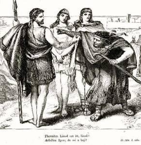 Διάλογος και ανάμεσα στους Αχιλλέα και Θερσίτη, σχέδιο από εικονογράφηση του θεατρικού έργου του Ουίλιαμ Σαίξπηρ «Τρωίλος και Χρυσηίδα».