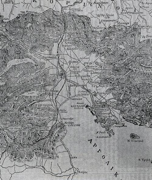Χάρτης της εγκυκλοπαίδειας «Πυρσού», με βάση χάρτες των Αντ. Μηλιαράκη και Ν. Κοκκίδη.