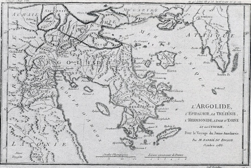 Χάρτης του Barbié du Bocage για το «Ταξίδι του νέου Ανάχαρση».
