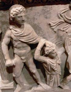 Ο Αχιλλέας σκοτώνει τον Θερσίτη. Ρωμαϊκή σαρκοφάγος, 2ος αι π.Χ. Αρχαιολογικό μουσείο Αττάλειας, Τουρκία.