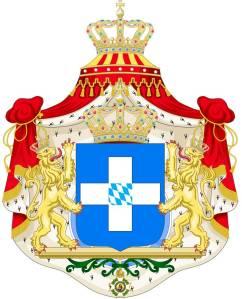 Το εθνόσημο και βασιλικός θυρεός της Ελλάδας (1833–1862).
