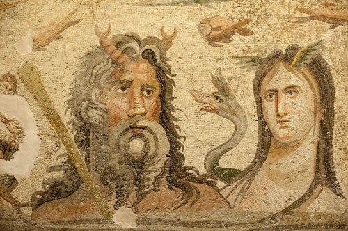 Ωκεανός και Τηθύς. Ρωμαϊκό μωσαϊκό, ζεύγμα της Συρίας, 1ος - 2ος αιώνας μ.Χ. Μουσείο Gaziantep, Τουρκία.