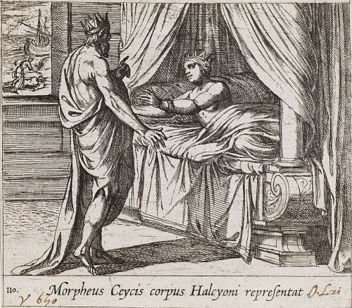 Ο Μορφέας μεταμορφωμένος σε Κήυκα παρουσιάζετε στην Αλκυόνη. Tempesta Antonio, Χαλκογραφία, 1606. Harvard Art Museums.