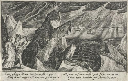 Το ναυάγιο του Κήυκα. Χαλκογραφία, περ. 1602-1607. Άμστερνταμ, Rijksmuseum.