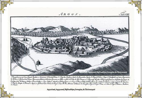 Αρχαίο Άργος. Στο χαρακτικό αυτό απεικονίζεται μια φανταστική εικόνα του αρχαίου Άργους. Ο σχεδιαστής Chaiko (1790), αγνώστων λοιπών στοιχείων, φαίνεται να έχει επισκεφτεί την Αργολίδα, όπως προκύπτει από την αρκετά, αλλά όχι εντελώς ακριβή αναπαράσταση της γενικότερης τοπογραφίας. Προφανώς, όταν αντίκρισε τα θλιβερά ερείπια της πόλης, προτίμησε να δημιουργήσει μια ρομαντική, φανταστική εικόνα του αρχαίου Άργους, βάσει των αφηγήσεων του Παυσανία στα «Κορινθιακά». Στην εικόνα καταγράφονται τρεις ποταμοί του Άργους. Ο παραπόταμος Αστερίων ( Νο24) ο οποίος ενώνεται με τον Ίναχο (Νο 20) αλλά και οι πηγές του Ερασίνου (19).